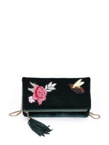 Flower And Bee Embroidery Velvet Crossbody Bag With Tassel