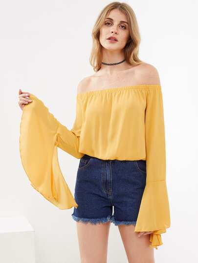 Bardot Split Trumpet Sleeve Top