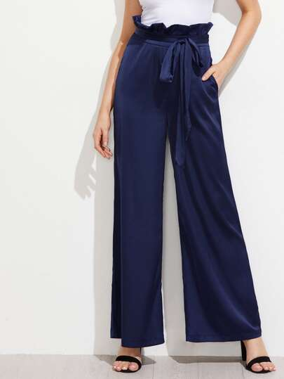 Self Tie Ruffle Waist Wide Leg Pants