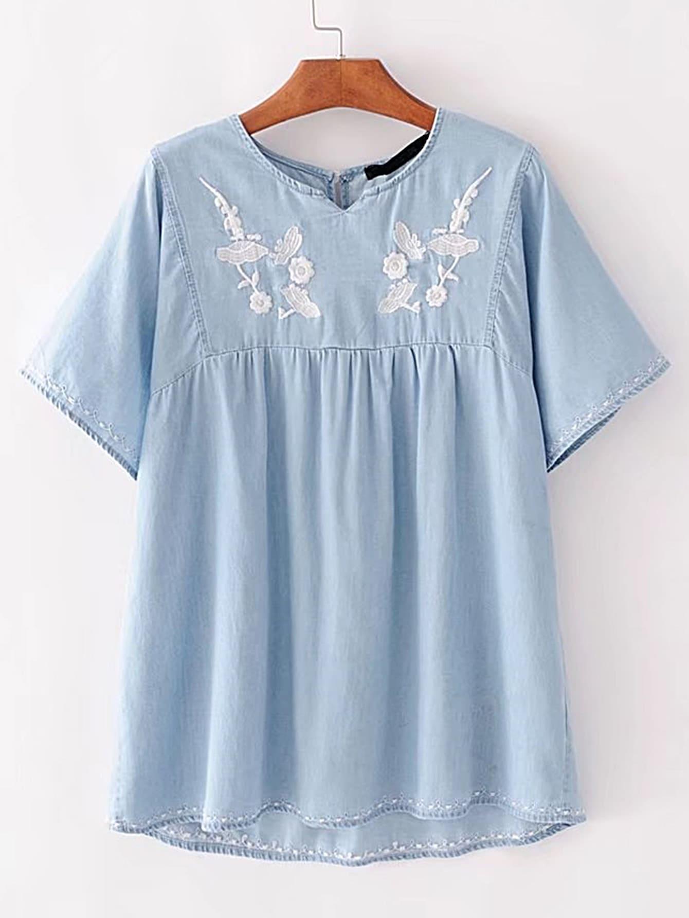 Фото Embroidery High Low Denim Top. Купить с доставкой