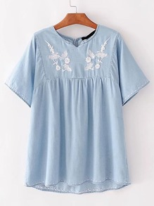 Embroidery High Low Denim Top