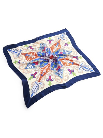 Symmetrical Flower Print Satin Bandana