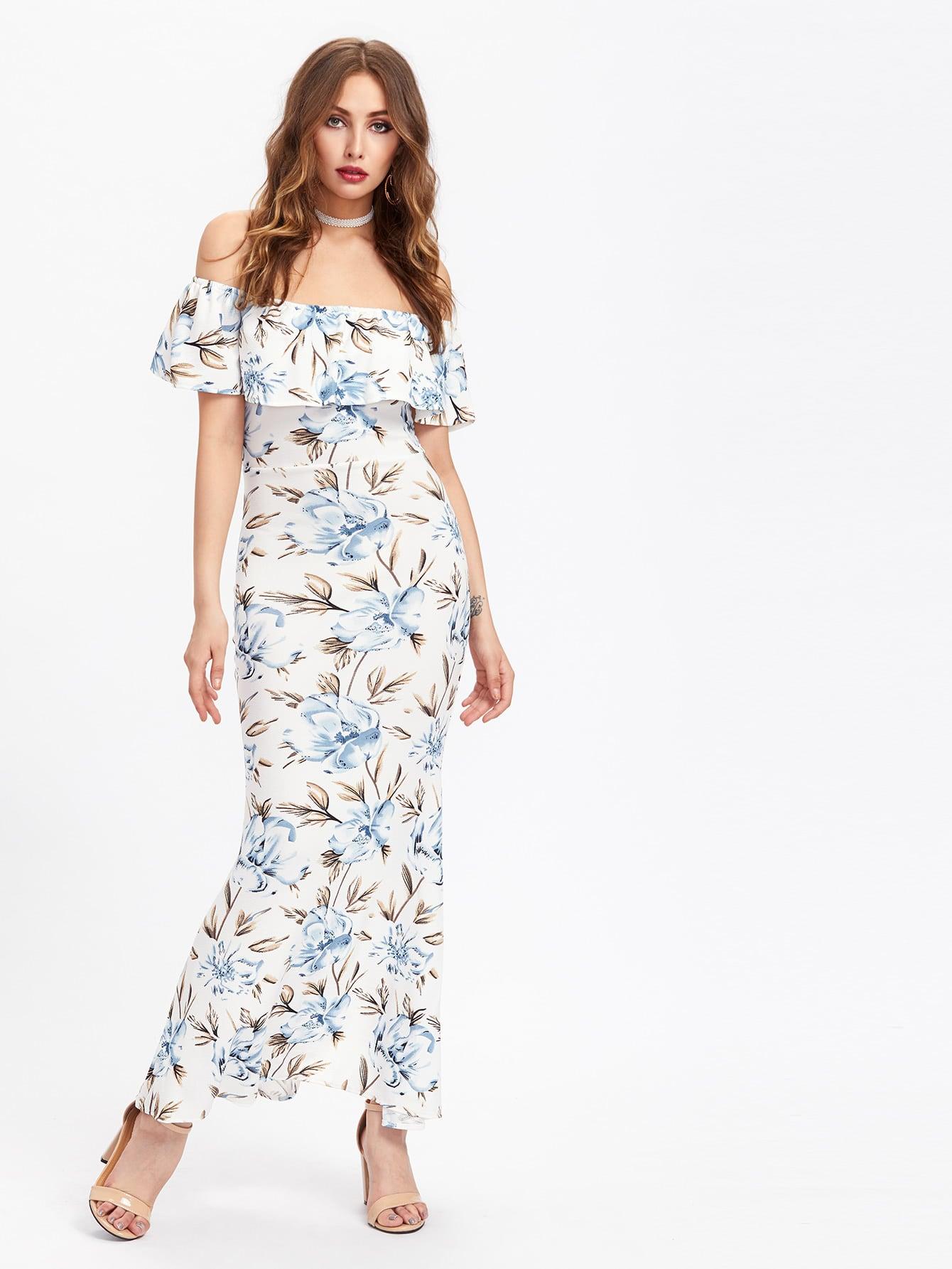 Фото Allover Florals Flounce Layered Neckline Slit Back Dress. Купить с доставкой