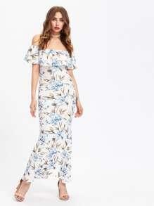 Allover Florals Flounce Layered Neckline Slit Back Dress