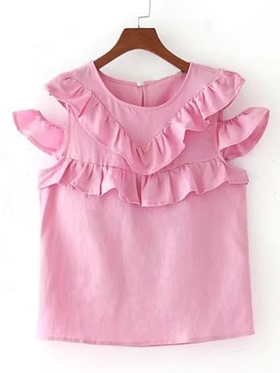 Open Shoulder Frill Trim Tiered Top