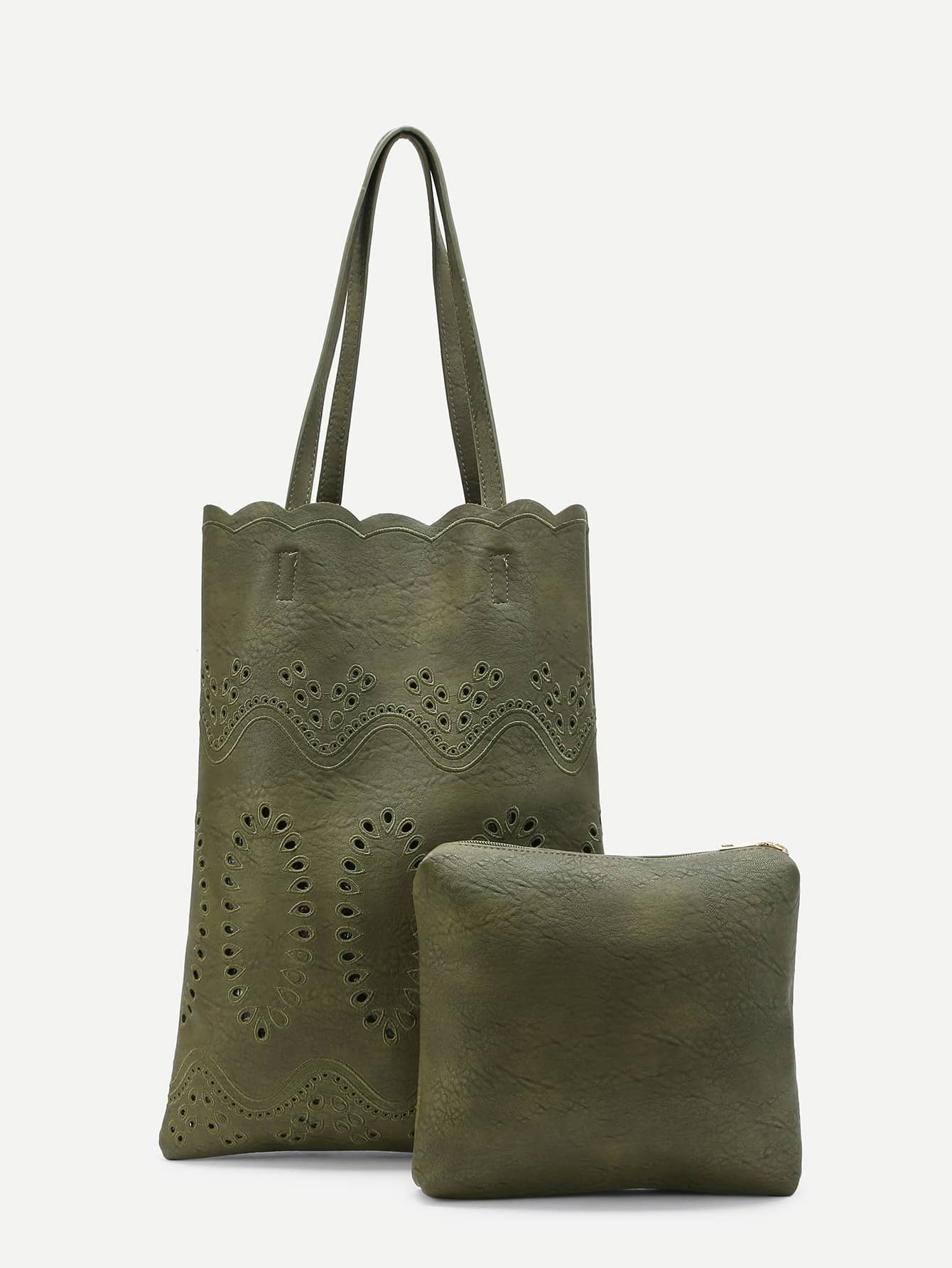Фото Laser Cut PU Tote Bag With Clutch. Купить с доставкой