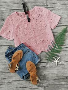 Scallop Hem Eyelet Embroidered Top