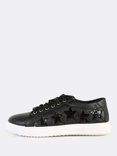 Cut Out Star Lace Up Sneakers BLACK