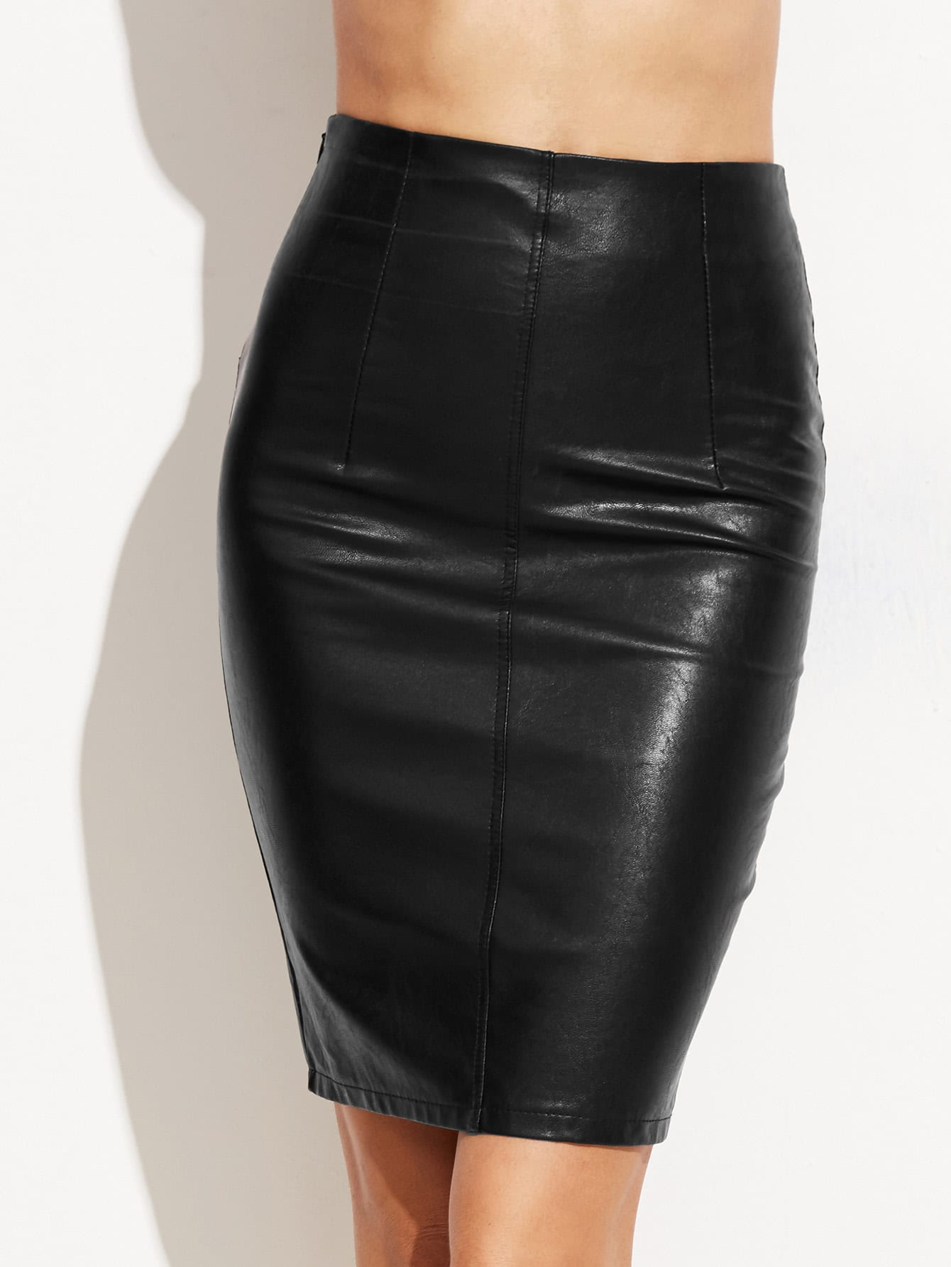 Faux Leather Skinny Skirt faux leather pleated skirt in black
