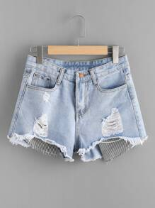 Pantaloncini in denim shorts Fray Hem Denim Contro Stripe Patch