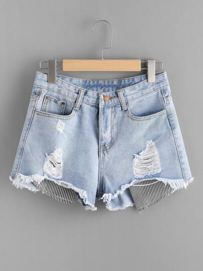 Destroyed Contrast Stripe Patch Fray Hem Denim Shorts