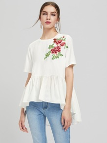 Embroidered Flower Patch Mixed Media Smock Top