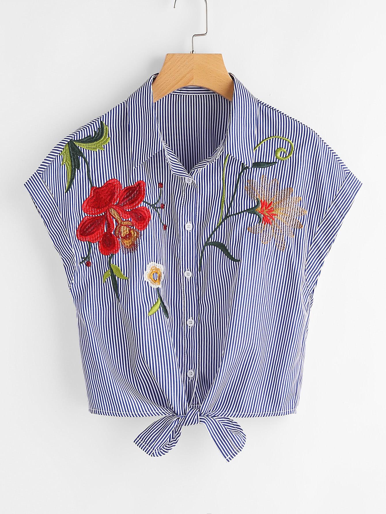 Фото Vertical Pinstripe Embroidered Tie Hem Blouse. Купить с доставкой