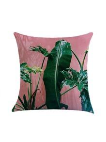 Tropical Leaf Print Pillowcase Cover
