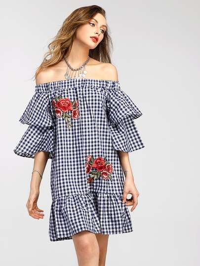 Bardot Gingham Embroidered Appliques Tiered Trumpet Sleeve Dress