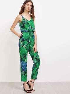 Jungle Leaf Print Double Strap Crisscross Jumpsuit