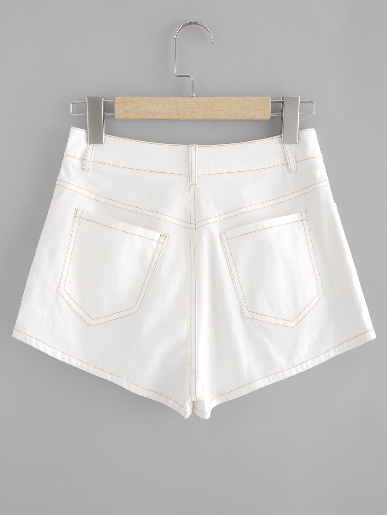 Embroidered Flower Patch Topstitch Shorts