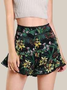 Flower Print Frilled Hem Shorts