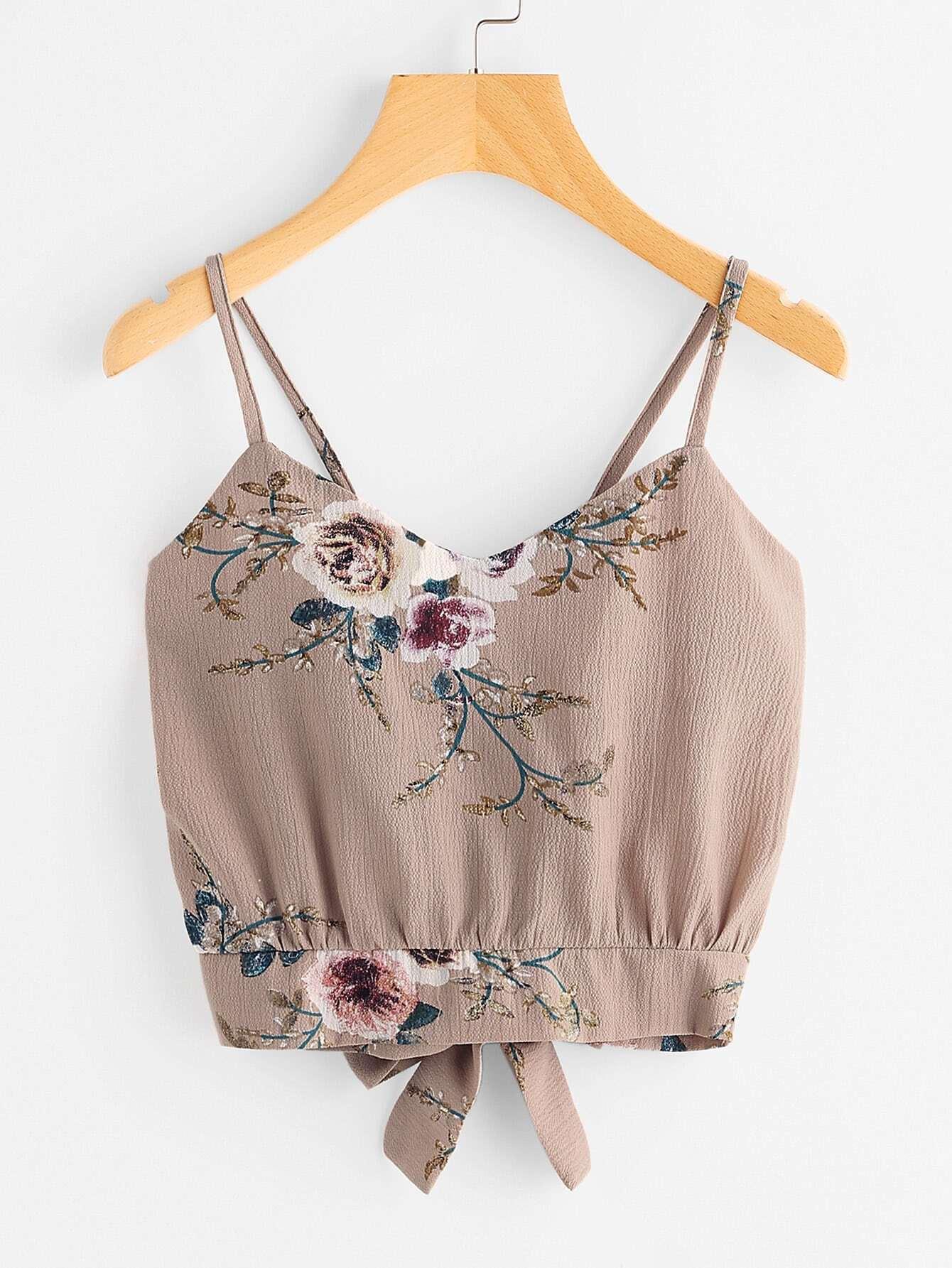 Фото Floral Print Random Split Tie Back Cami Top. Купить с доставкой