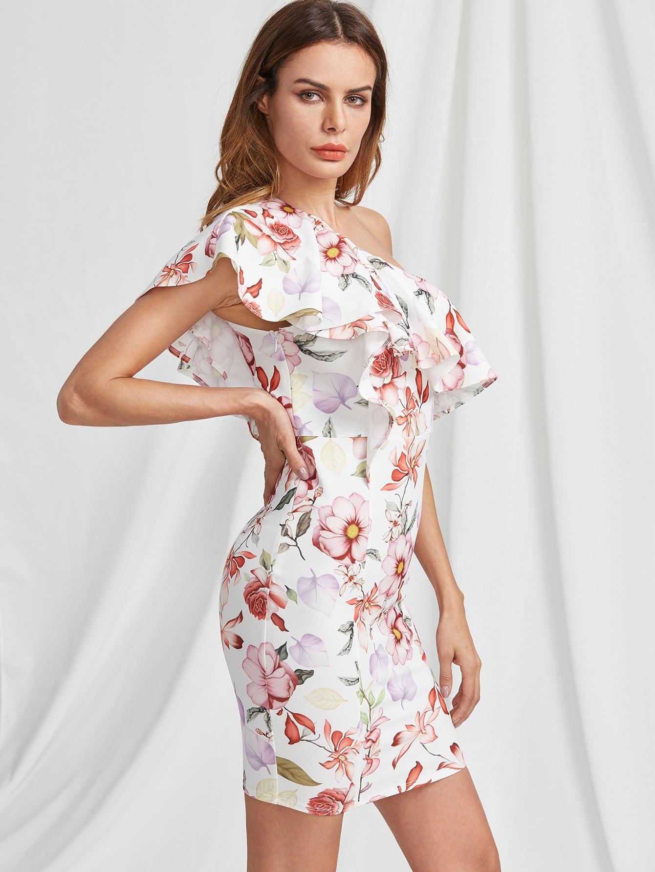 Фото Flounce One Shoulder Botanical Dress. Купить с доставкой