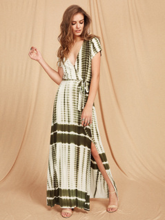 Tie Dye Stripe Slit Surplice Wrap Dress