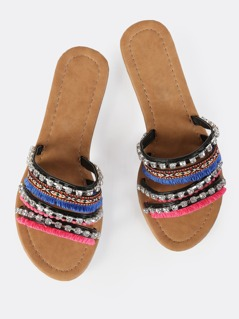 Diamond Stitched Sandal BLACK