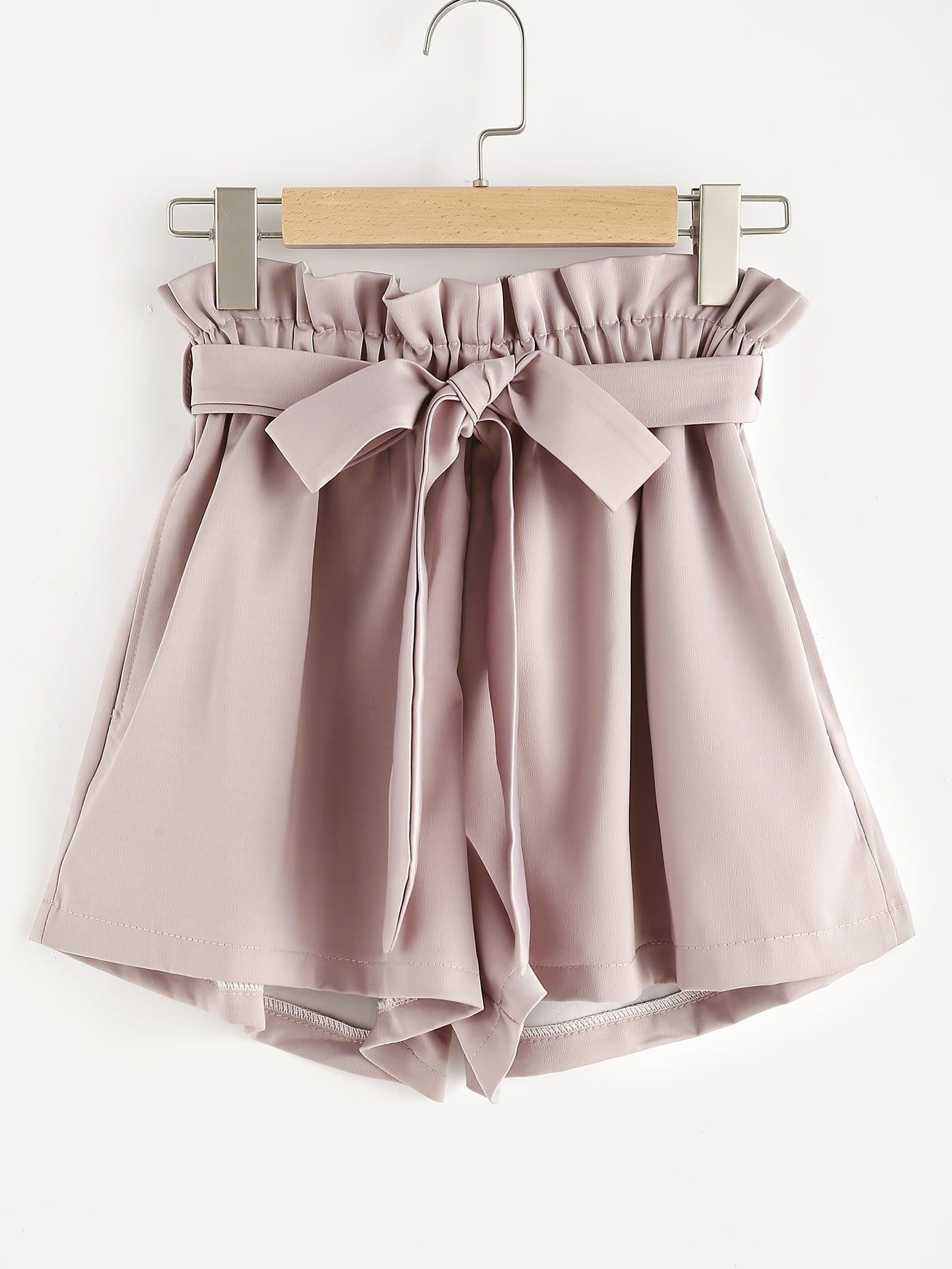 Купить Модные розовые шорты с поясом-бантом, null, SheIn