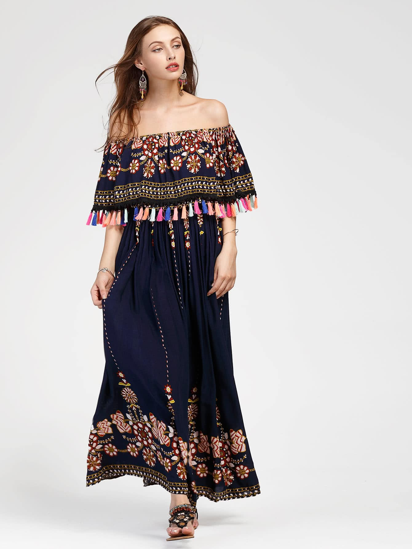 цена Flounce Layered Neckline Tassel Trim Aztec Print Dress