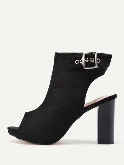 Open Toe Chunky Mule Pumps With Buckle