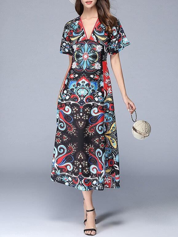 Фото V Neck Vintage Print Long Dress. Купить с доставкой