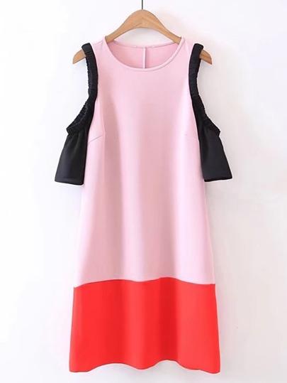 Open Shoulder Color Block Dress
