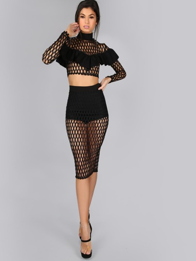 Romwe / Netted Midi Skirt BLACK