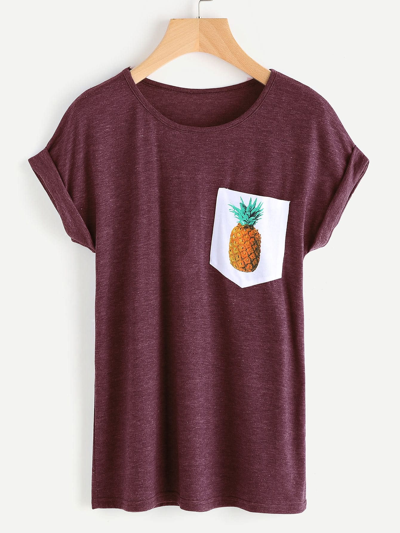 Contrast Pineapple Print Pocket Marled Cuffed Tee knotted hem cuffed marled tee