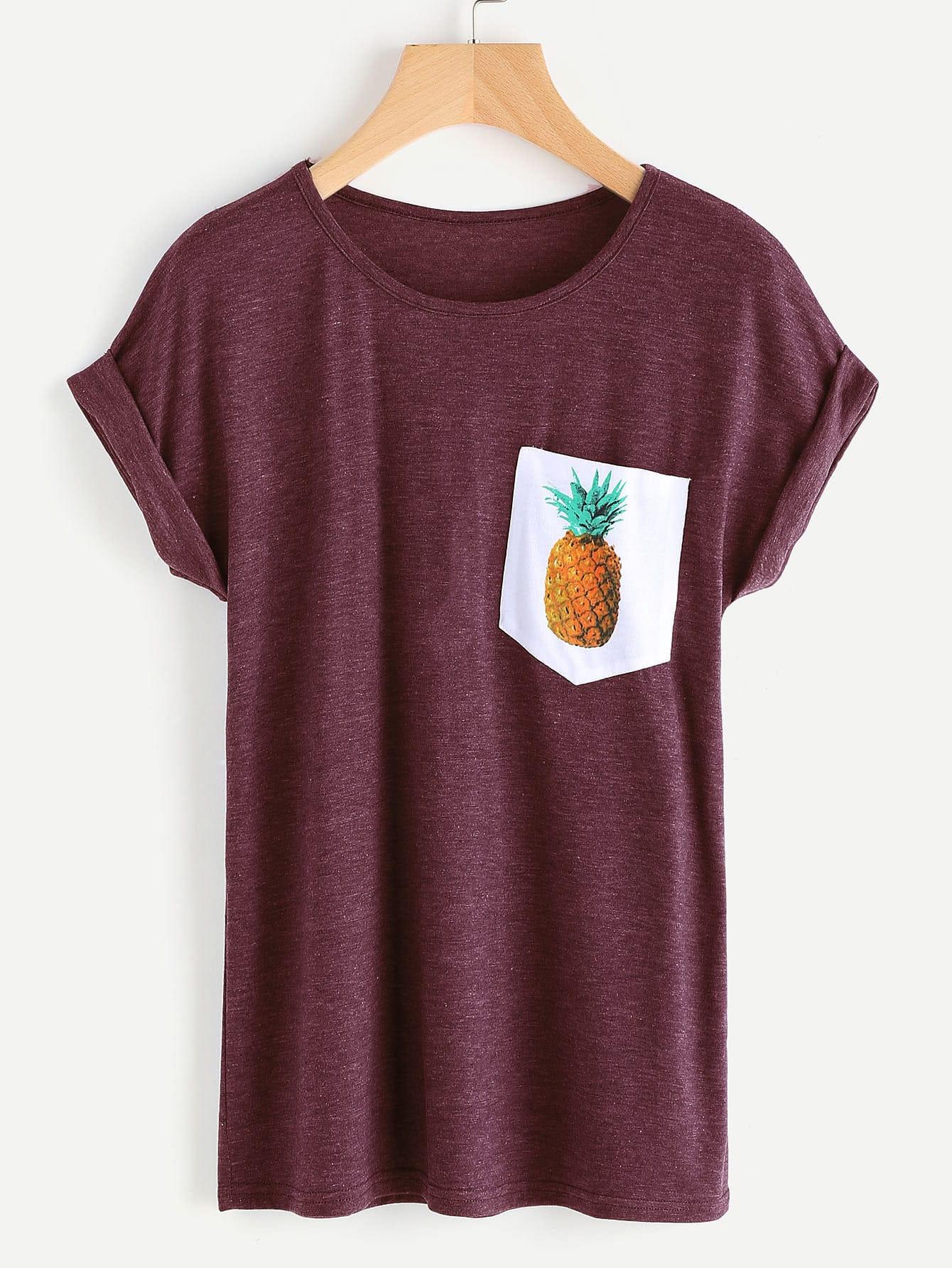 Фото Contrast Pineapple Print Pocket Marled Cuffed Tee. Купить с доставкой