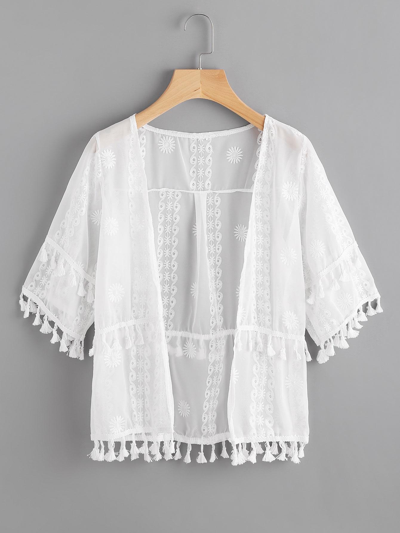 Фото Embroidered Tassel Trim Kimono. Купить с доставкой
