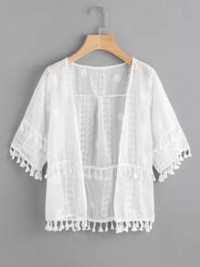 Embroidered Tassel Trim Kimono