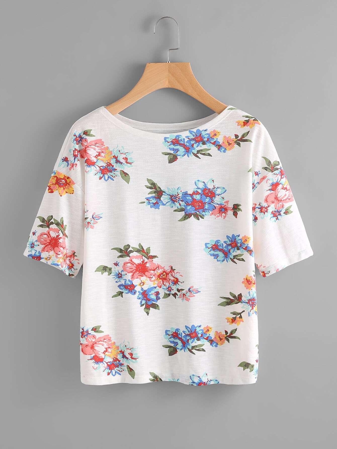 Flower Cluster Print Slub T-shirt lace panel graphic slub t shirt