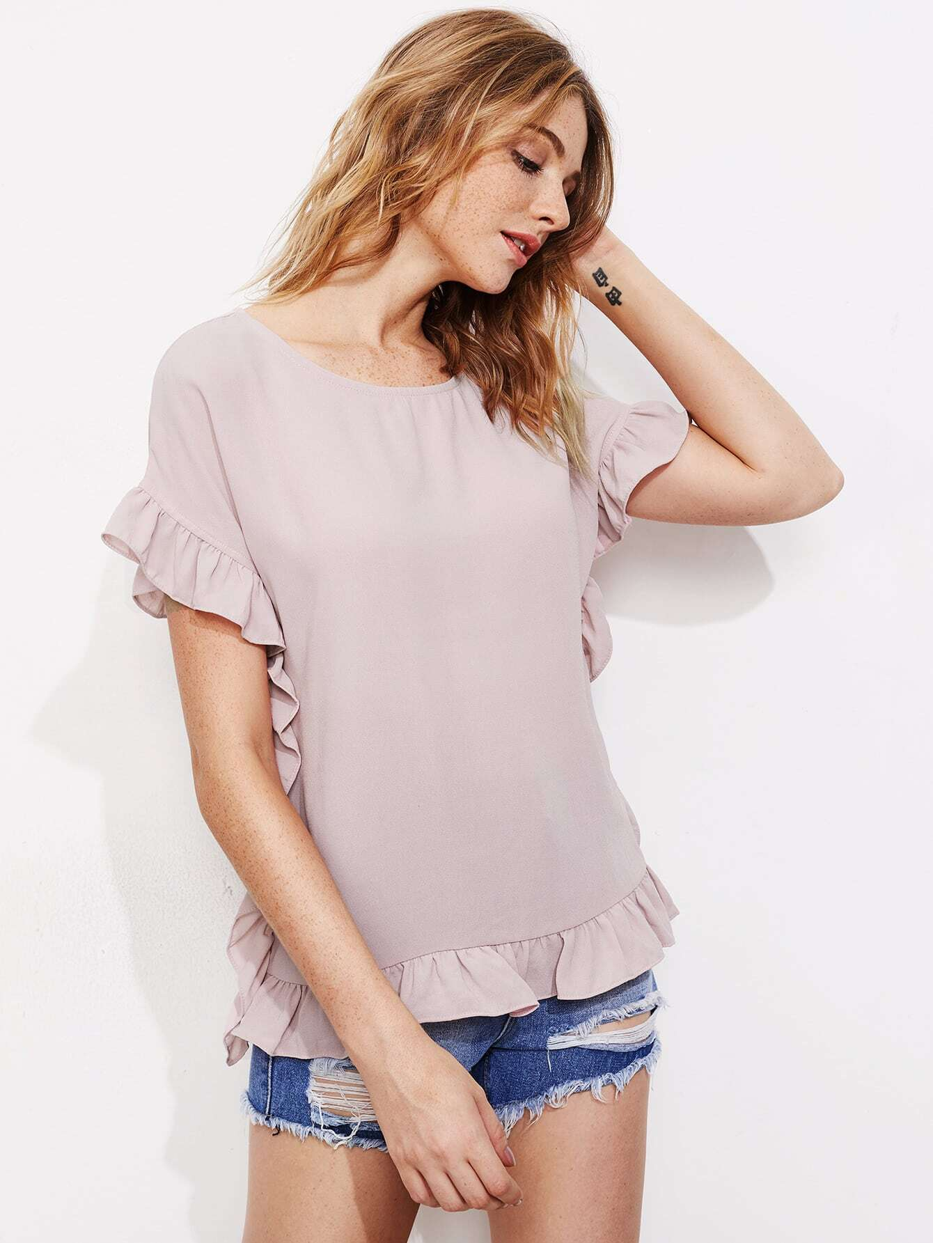 Frill Trim Buttoned Keyhole Back Top