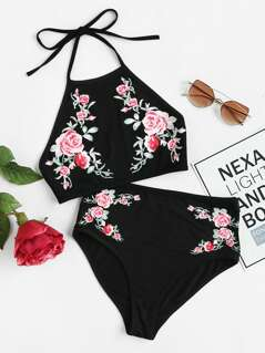 Symmetric Rose Print Halter Top And Knicker Set