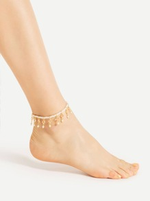 Faux Pearl Embellished Elastic Chain Anklet