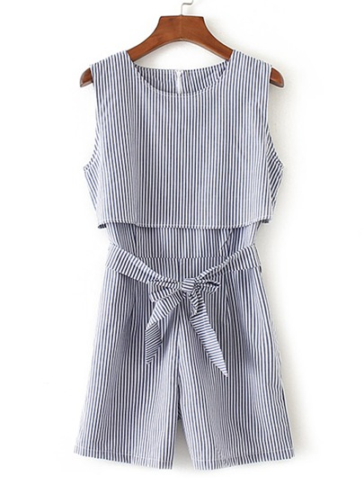Vertical Striped Bow Tie Waist Playsuit