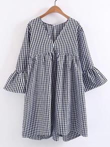 Bell Sleeve Checkered Dress