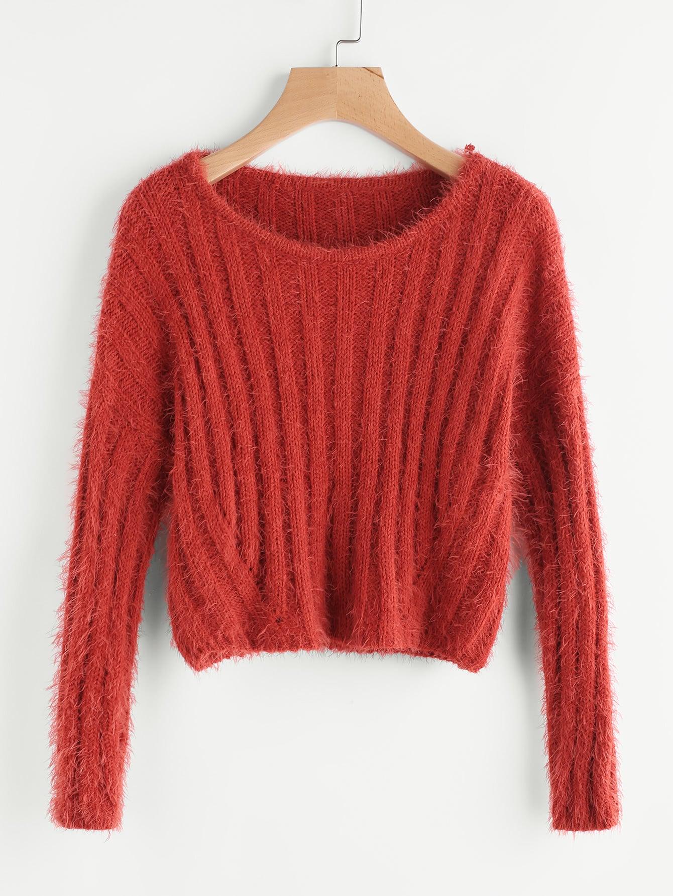 Rib Knit Crop Fuzzy Jumper sweater170627461