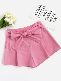 Bow Belt Front Pleated Shorts