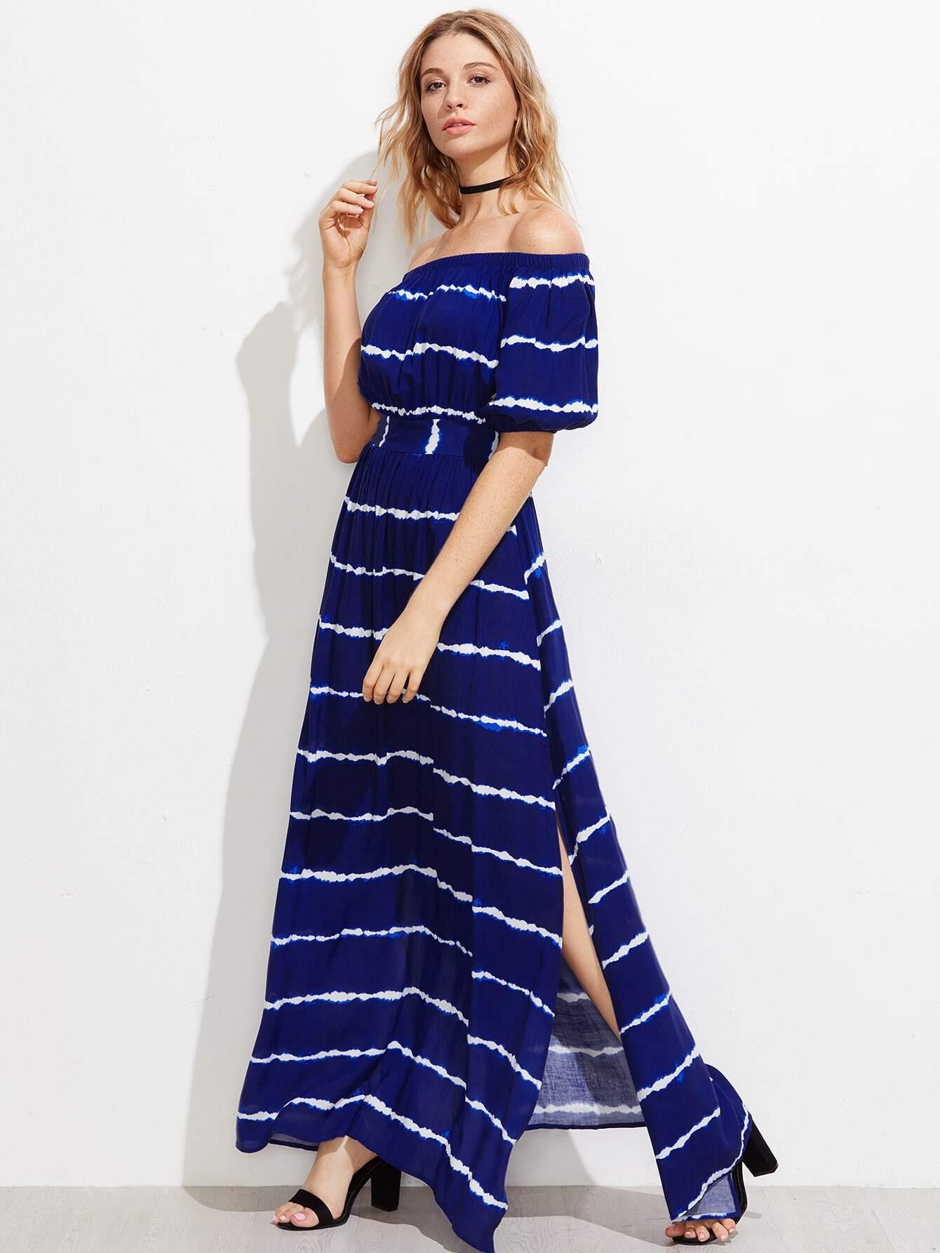 Фото Shirred Back Side Slit Tie Dye Striped Bardot Dress. Купить с доставкой