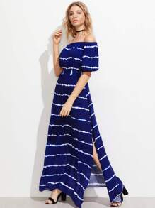 Shirred Back Side Slit Tie Dye Striped Bardot Dress