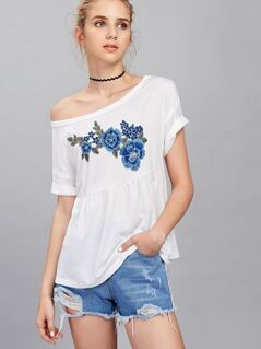 Rolled Up Embroidery Smock Tee