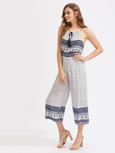 Aztec Print Tassel Tie Neck Wide Leg Jumpsuit