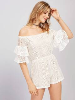 Bardot Layered Bell Sleeve Lace Playsuit
