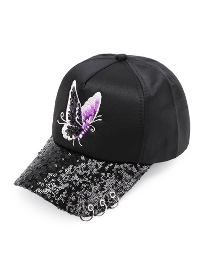 red sequin baseball hat pink cap butterfly embroidery wholesale